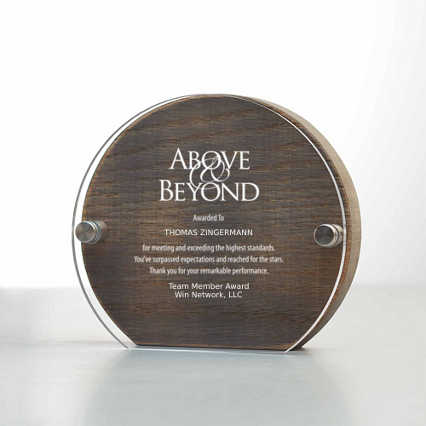 Rustic Praise Wood and Acrylic Trophy Round